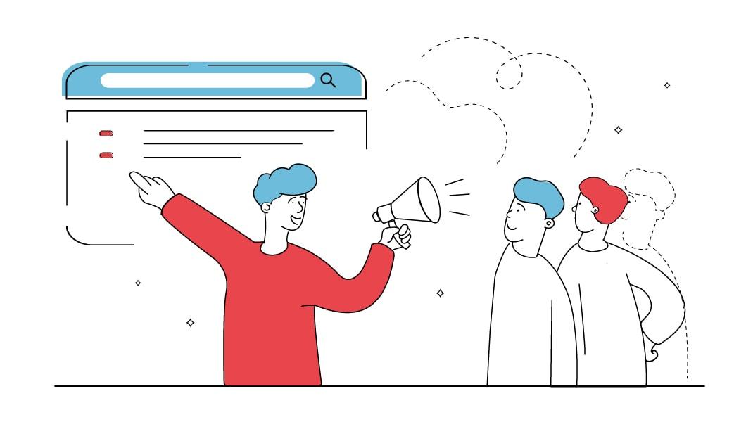Ein Freundlicher Mann mit Sprachrohr ruft einer Gruppe von Menschen zu und zeigt auf eine Website.
