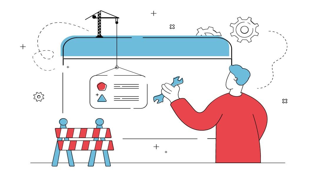 Ein Mann versucht den richtigen Workflow für die Websiteentwicklung aufzubauen. Dabei betrachtet er verschiedene Websiteelemente kritisch.