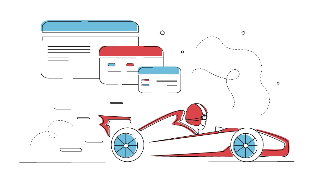 Ein Rennfahrer in einem Formel-1 Wagen fährt durch das Bild. Über ihm entwickelt sich in drei Schritten der Prototyp einer Website von Grob zu Fein.