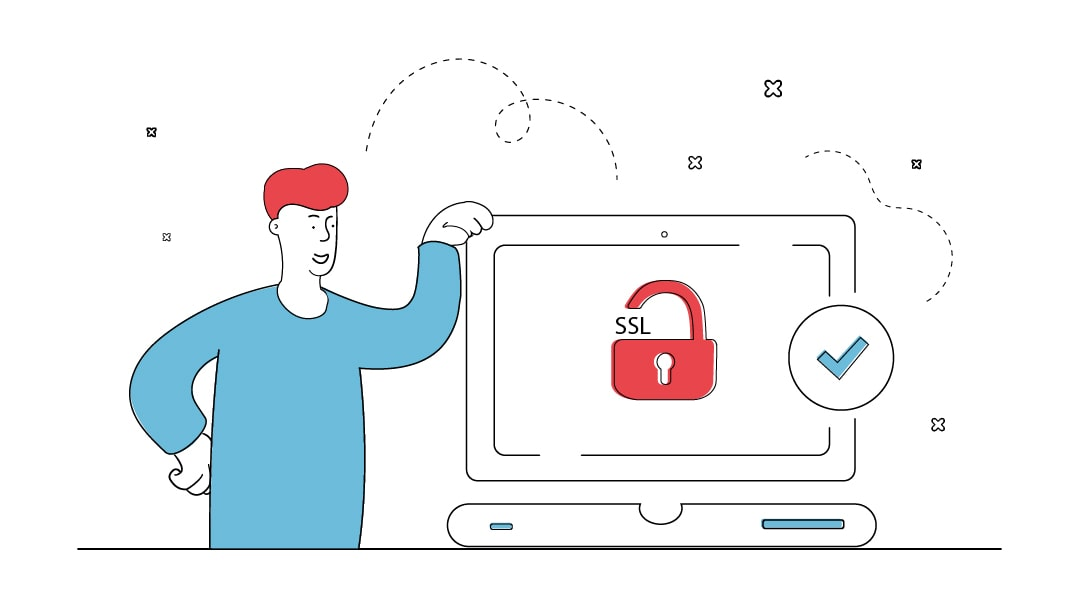 Ein Mann lehnt sich zufrieden an einen Computer, der ein Schlosssymbol mit SSL und einen grünen Haken zeigt. Das symbolisiert eine sicher mit SSL verschlüsselte Website.