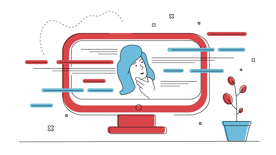 Eine Frau in einem Bildschrim macht sich Gedanken zu umherfliegenden Textzeilen, die Keywords repräsentieren.