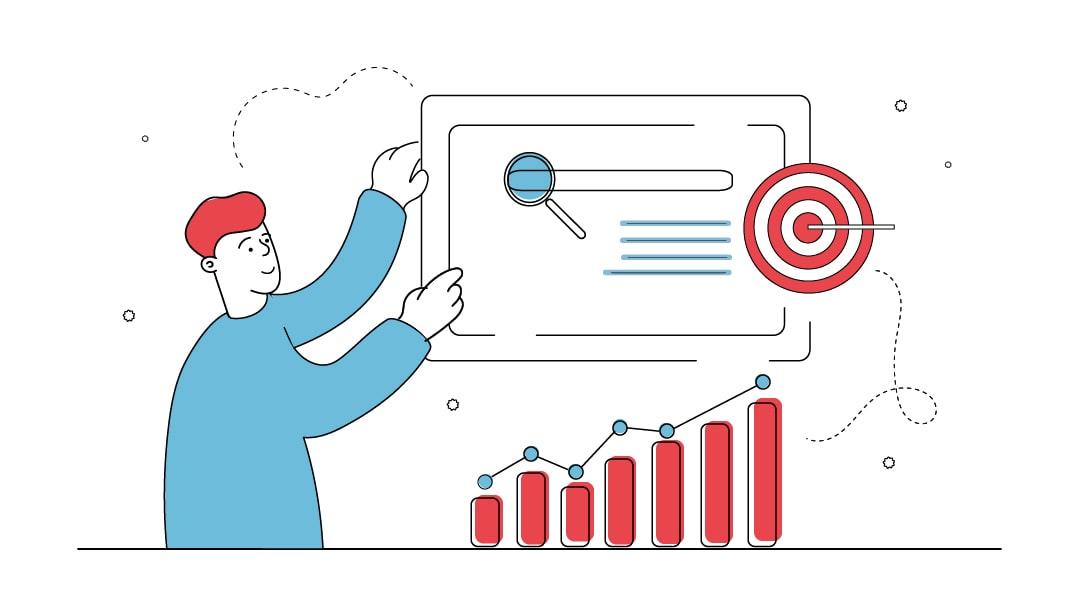 Ein Mann betreibt an einem Monitor Suchmaschinenoptimierung und trifft damit in die Mitte einer Zielscheibe die seine Zielgruppe darstellt. Unter dem Monitor stellen ein paar Graphen steigende Besucherzahlen dank SEO dar.