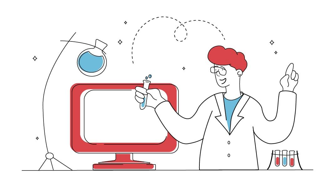 Ein Mann experimentiert in einem Labor mit verschiedenen Reagenzgläsern und entwickelt an einem Bildschirm einen Plan und ein Konzepr für eine Website.