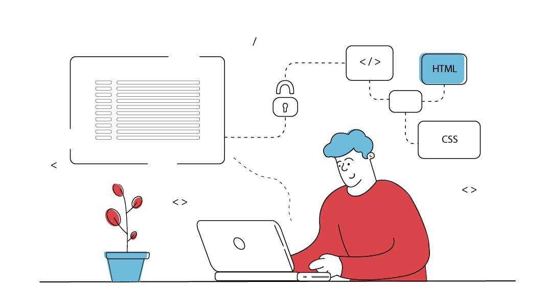 Ein Mann an einem Laptop schreibt Programmcode. Über ihm tauchen Blasen mit den Begriffen HTML und CSS auf sowie ein Schlosssymbol.