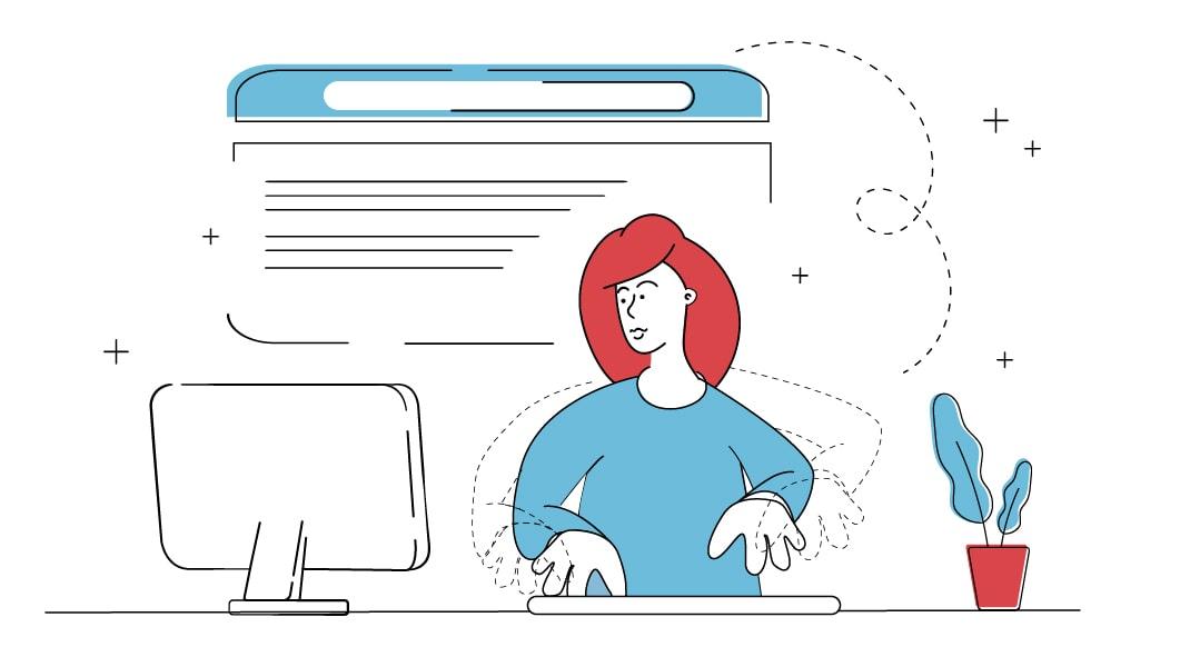 Eine Frau Tippt an einem Computer einen Website Text.