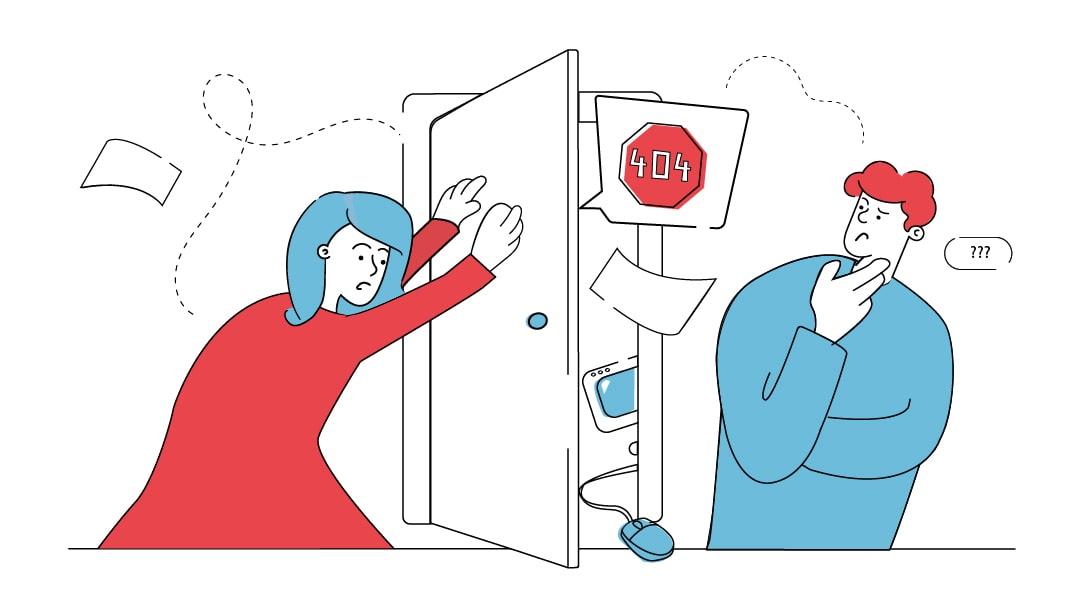Eine Frau versucht die Tür eines Dienstleisters zu schließen, aus der lose Blätter, verhedderte Kabel und Website-Fehlermeldungen geflogen kommen. Ein Mann betrachtet mit fragendem Gesichtsausdruck die Arbeit des Dienstleisters durch die Tür.