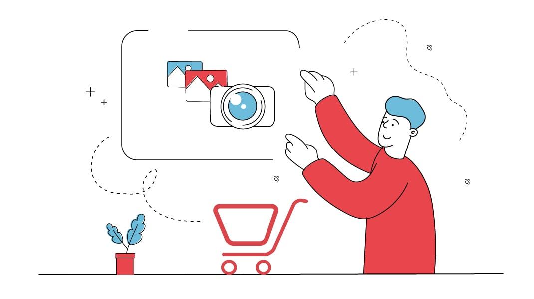 Ein Mann mit Einkaufswagen sucht passende Fotos und Grafiken für seine Website aus.