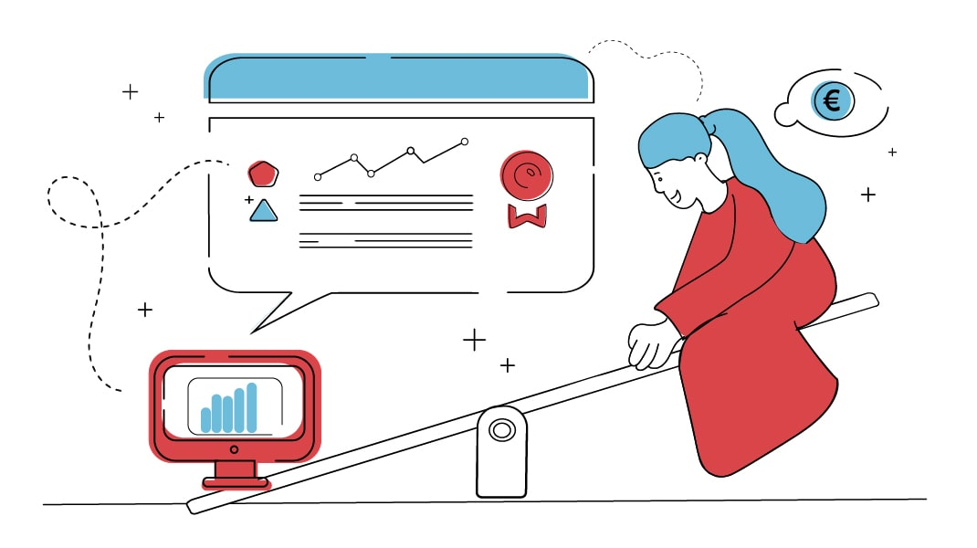 Ein Computer, der eine Qualitativ hochwertige Website darstellt und eine Frau, die an Geld denkt sitzen auf zwei seiten einer Wippe. Die Wippe überwiegt auf der Seite des Computers mit der Qualitativen Website.