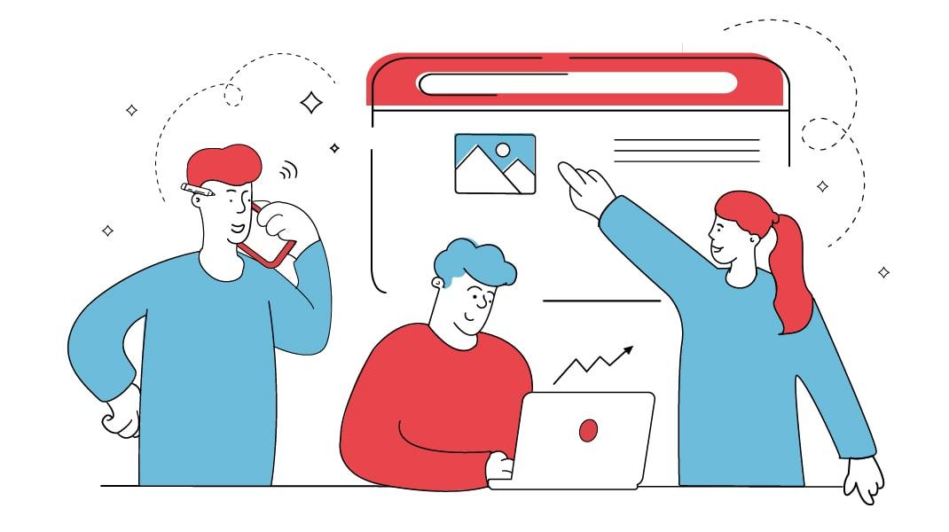 Drei Personen arbeiten an verschiedenen Teilen eines Entwicklungsprojektes mit. Von links nach rechts: Ein Mann Telefoniert, ein Mann Verfolgt SEO-Maßnahmen an einem Laptop, eine Frau deutet auf ein Bild auf einer Website.