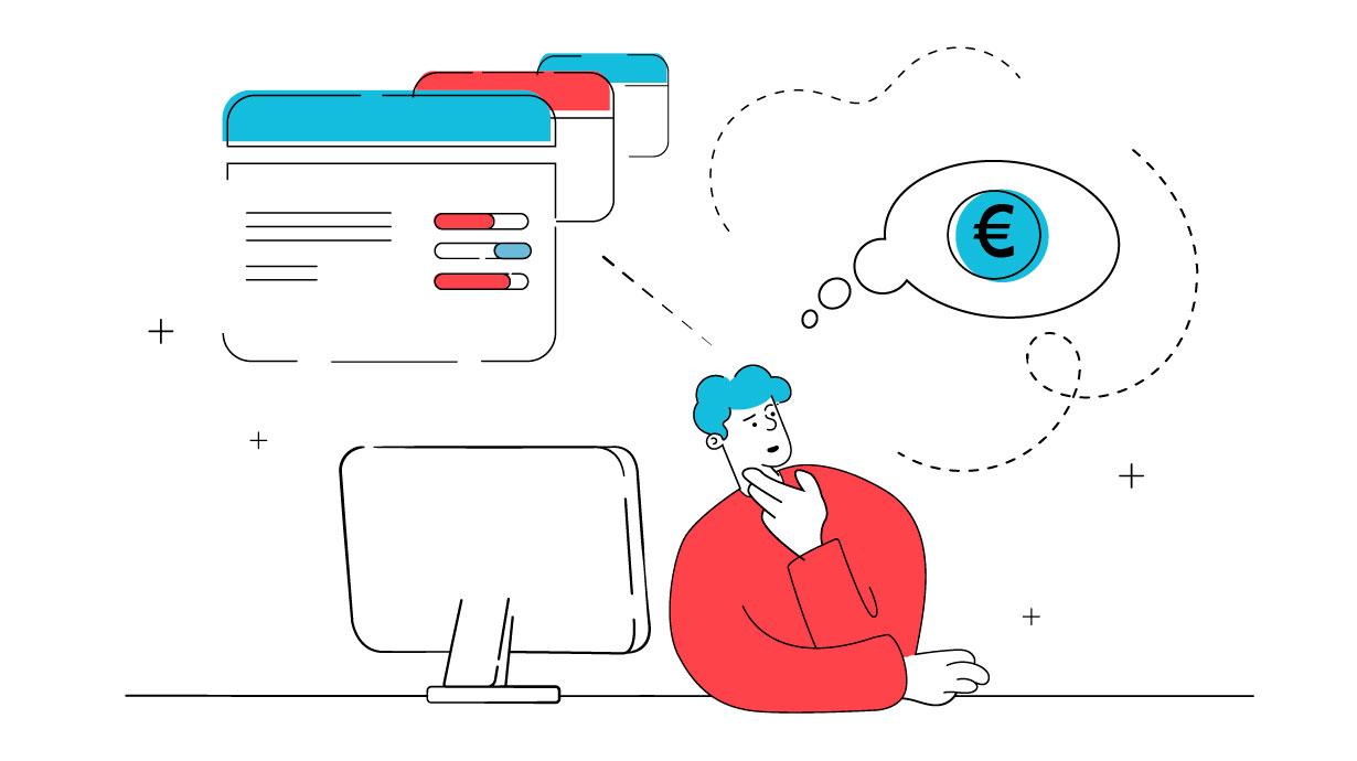 Ein Mann denkt über das Thema was kostet eine Website in Abhängigkeit der Parametern einer Website nach.