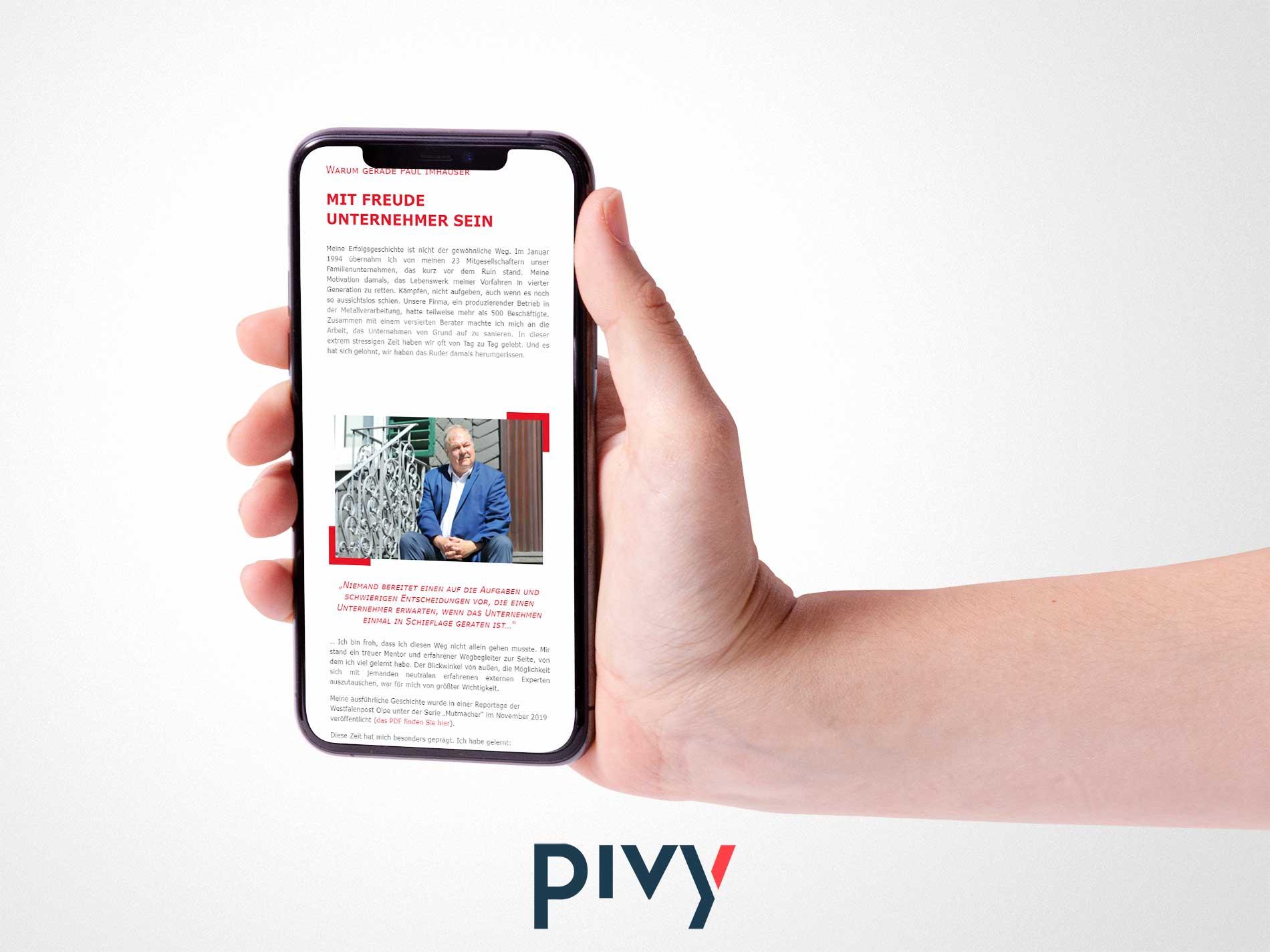 Paul Imhäuser Inhaberstrategien Website auf Smartphone